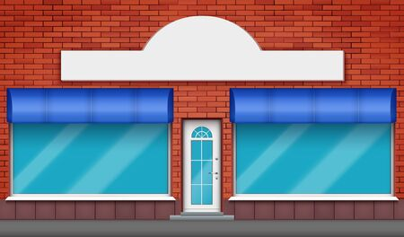 Exterior of shop facade with two big glass showcase and signboard. Facade of red brick wall and big windows and door with marquise blind. Hotel Street view. Vector Illustration.