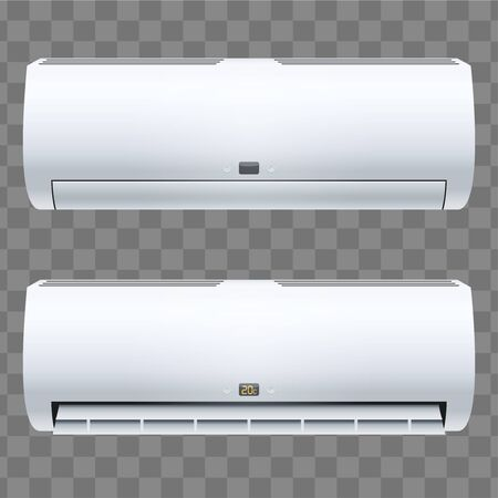Set of Classic Split air conditioner house system. Switch on. Indoor unit. Sample White color. Vector Illustration on isolated transparent background
