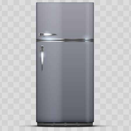 Modern Fridge Freezer refrigerator. Silver color. Household technology and appliances. Vector Illustration isolated on transparent background.