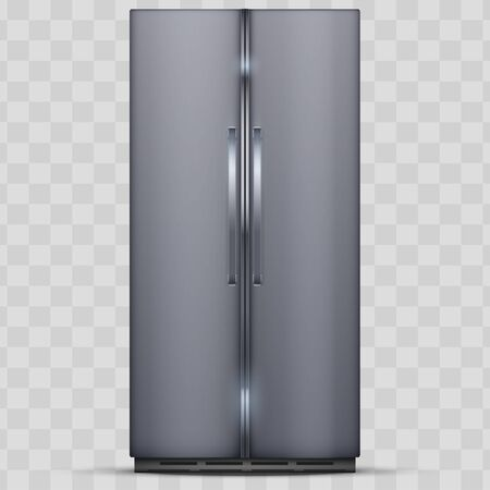 Modern Fridge Freezer refrigerator with double doors. Silver color. Household technology and appliances. Vector Illustration isolated on transparent background.