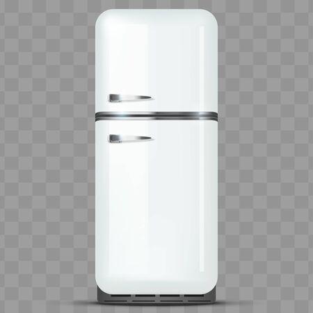 Vintage Fridge Freezer refrigerator. White color. Household technics and appliances. Vector Illustration isolated on transparent background.