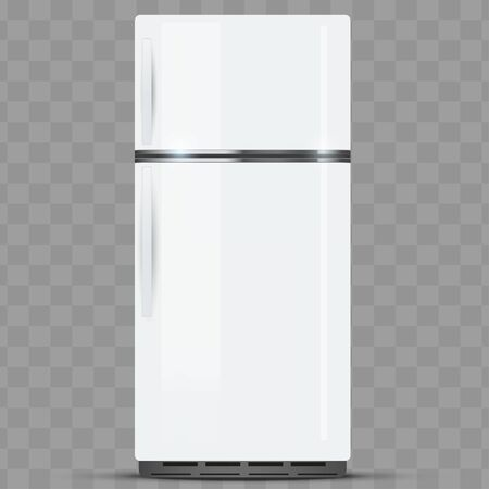 Modern Fridge Freezer refrigerator with double doors. Silver color. Household technics and appliances. Vector Illustration isolated on transparent background.