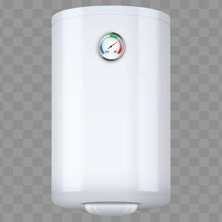 Warmwasserbereiter Boiler mit Temperaturregelung. Haushaltsgeräte für Komfort. Weiße Farbe bearbeitbare Vektor-Illustration auf transparentem Hintergrund isoliert. Vektorgrafik