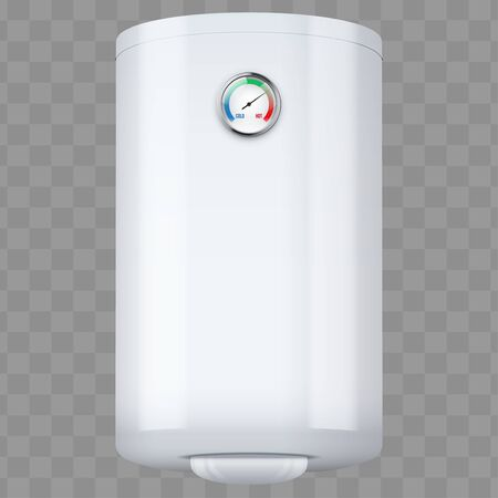 Water heater Boiler with temperature control. Home appliances for comfort. White color Editable Vector Illustration isolated on transparent background.