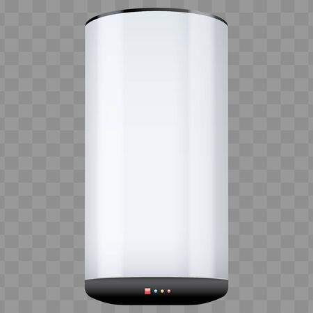 Water heater Boiler with temperature control. Home appliances for comfort. White color Editable Vector Illustration isolated on transparent background. Vector Illustration