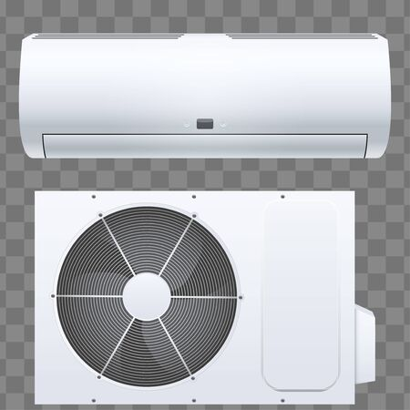 Set of Split air conditioner house system. Outdoor and Indoor units. Sample White color. Vector Illustration on isolated transparent background