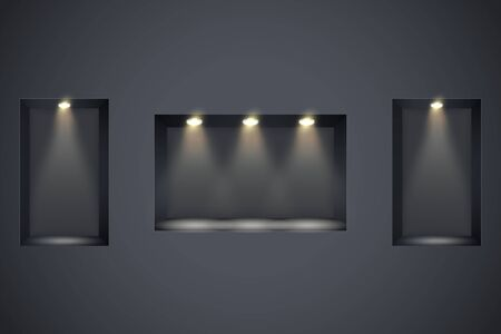 Wall with niches and spotlights. Concept of gallery. Recess in a dark wall in rectangle shaped with point light. Black color. Editable Background Vector illustration. Ilustração