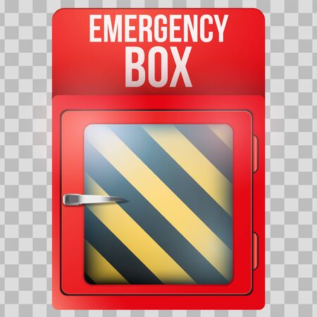Empty red emergency box with in case of emergency breakable glass. Vector illustration Isolated on transparent background.