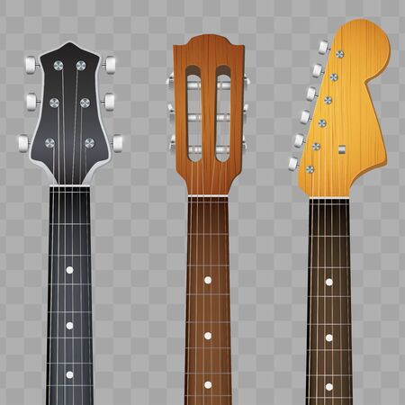 Set of Electro and Acoustic Guitars neck fretboard and headstock. Vector Illustration isolated on transparent background.