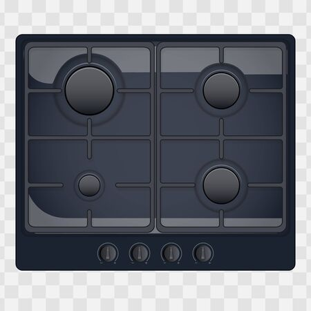 Surface of gas hob. Domestic kitchen equipment. Black Color. Above view of stove. Editable Vector illustration Isolated on transparent background. Vettoriali
