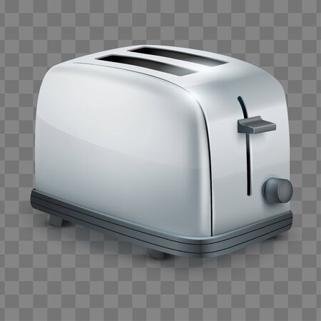 Classic Metal toaster. Domestic Kitchen appliances and supplies. Vector illustration isolated on transparent background.