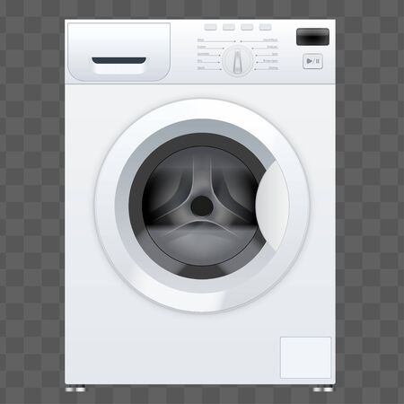 Classic White Washing machine with closed door. Household appliances. Vector Illustration isolated on transparent background. Stock Illustratie