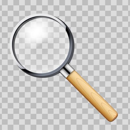Vintage Magnifying glass with handle. Vector Illustration Isolated on transparent background.