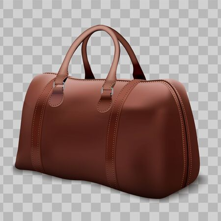 Classic Stylish Leather Brown Handle Bag. Perspective view of Fashion accessory. Vector illustration Isolated on transparent background.
