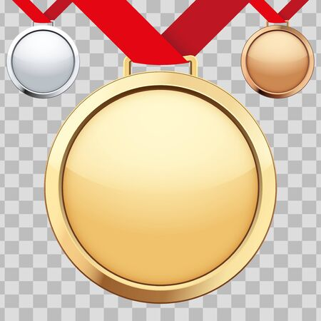 Set of sport medals with ribbon. Bronze and Silver and Gold Medals. Vector Illustration isolated on transparent background.