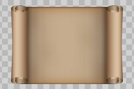Old Scrolled Paper. Old parchment Paper. Horizontal format. Vector illustration Isolated on transparent background.