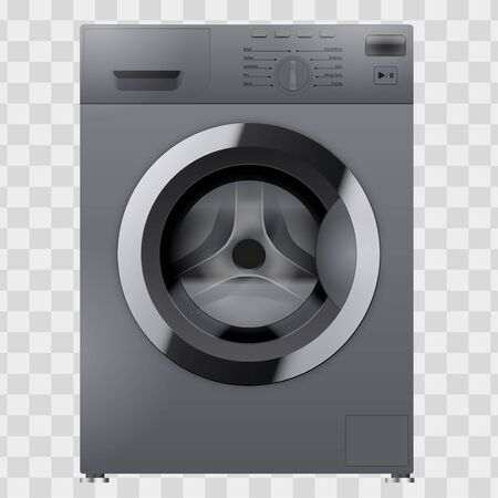 Modern Silver Washing machine. Household appliances. Vector Illustration isolated on transparent background.