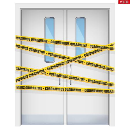 Hospital doors with warning yellow tapes. Element from medical hall. Emergency entrance with Epidemic barrage lines. Vector Illustration isolated on white background.