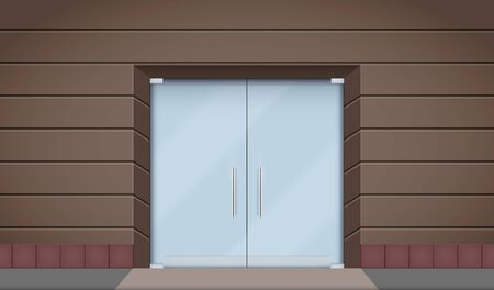 Exterior of Hotel facade with two big glass doors. Boutique Street view. Vector Illustration. Ilustração