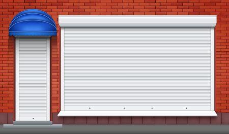 Extérieur de la façade du magasin avec devanture et porte fermées. Façade de mur de briques et volets roulants fermés. Vue sur la rue de la boutique. Illustration vectorielle.