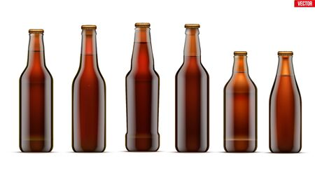 Mockup set of Craft beer bottle. Different bottle models in Brown glass. Individual and home brewery. Handcrafted beer. Vector Illustration isolated on white background.