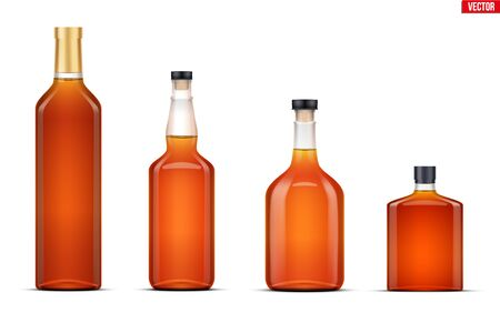 Mockup set of whiskey bottle. Transparent glass. Example bottle for whickey and cognac and brandy beverages. Vector Illustration isolated on white background.
