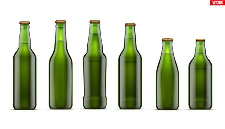 Mockup set of Craft beer bottle. Different bottle models in Green glass. Individual and home brewery. Handcrafted beer. Vector Illustration isolated on white background.