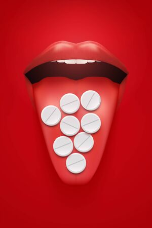 Poster of consumption drugs in large quantities. Woman red lips and tongue with pils. Industry medicine and pharmaceutics. Concept of Uncontrolled drug use. Vector Illustration.