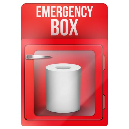 Emergency box with toilet roll paper in case of breakable glass. Vector illustration Isolated on white background. Vektoros illusztráció