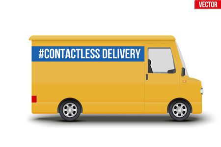Contactless delivery curier transport. Yellow van with Contactless delivery tag. Vector illustration Isolated on white background. 版權商用圖片 - 143539809