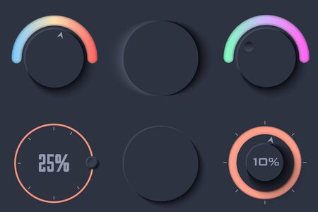 Neumorphic UI circle Dark color set. Workflow graphic elements in Skeuomorph Trend Design. Circular Elements for smart technology and applications. Editable Vector illustration.
