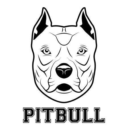 Pitbull mascot head. Symbol of aggressive dog. Vector illustration isolated on white background. Vettoriali