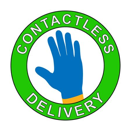Contactless delivery left at the door during the quarantine. House entrance with delivered box. Control Epidemic Prevention measures of coronavirus. Vector Illustration