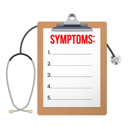 Blank clipboard with symptom paper and stethoscope. The Blackboard concept of doctor examination and diagnosis. Editable Vector illustration isolated on white background. Иллюстрация