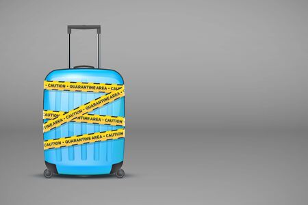 Blue plastic luggage suitcase wrapped with warning quarantine tapes on gray background. The collapse of the tourism industry. World Travel Stop. Vector Illustration