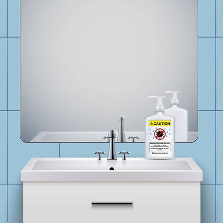 Washbasin cabinet with Sanitizer bottle soap. Concept of Safety in an epidemic and pandemic. Domestic bathroom Interior. Vector Illustration