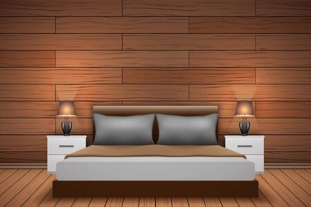 Contemporary bedroom interior with wood paneling at the headboard bed. Trendy bedroom interior with wooden wall in scandinavian style. Vector Illustration. Ilustração