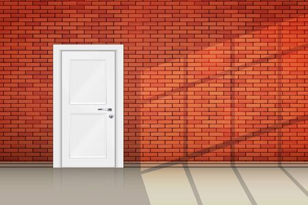 Interior of red brick wall closed door and sunlight from window. Loft interior and Vintage room concept. Vector Illustration.
