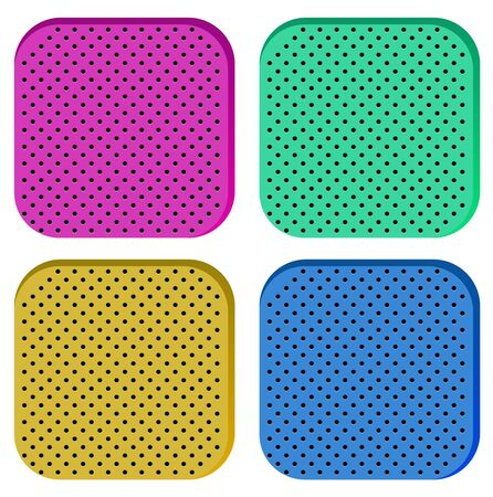 Set of Icon of perforated material. Technical Demonstration of material with porous structure. Vector Illustration isolated on white background 向量圖像
