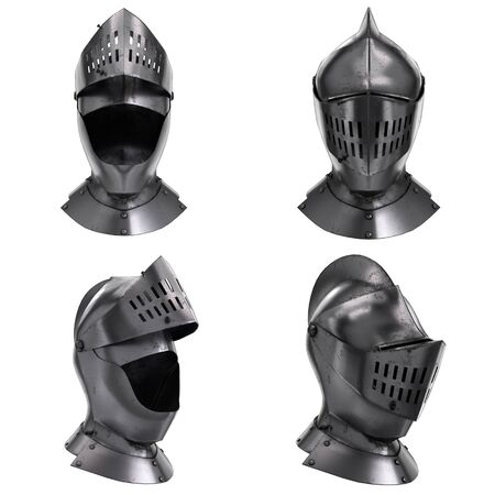 Set of Classic Medieval Knight Armet Helmet with visor. All side view. Used for tournaments or battlefields. 3D render Illustration Isolated on white background.