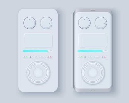Neumorph UI kit on sample smartphone screen. Music player layout. Light color set. Skeuomorph Trend Design. Workflow UX smart technology applications. Vector illustration.