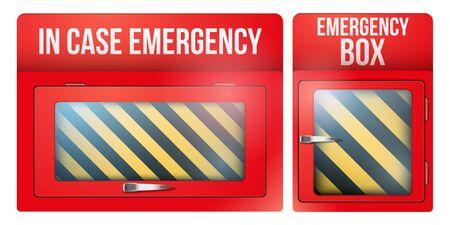 Set aus leerer roter Notfallbox mit im Notfall zerbrechlichem Glas. Vektorabbildung getrennt auf weißem Hintergrund. Vektorgrafik