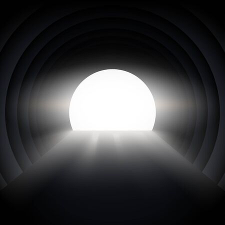 Light at the end of the tunnel. Concept of illustration of hope and way out of crisis. Editable Vector Illustration Ilustracja