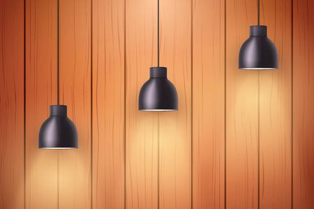 Interior of wooden wall with vintage pedant lamps. Concept of trendy interior. Background of loft or showroom. Vector Illustration