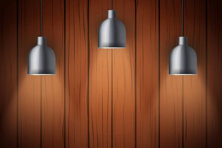 Interior of dark wooden wall with vintage pedant lamps. Concept of trendy interior. Background of loft or showroom. Vector Illustration