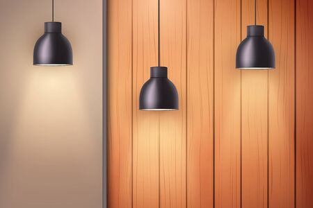 Wooden wall with niche and vintage pendant lamps. Concept of trendy interior or cover architecture design. Background of loft or showroom. Vector Illustration Illusztráció