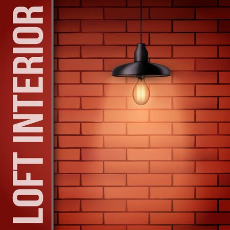 Landing cover of Brick wall with vintage pendant lamp and space for text. Concept of trendy loft interior and architecture design. Background of loft or showroom. Vector Illustration Illusztráció