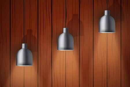 Interior of dark wooden wall with vintage pendant lamps. Concept of trendy interior. Vector Illustration