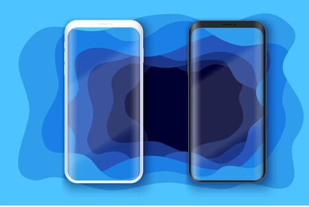 Smartphone layout presentation mockup on art background with depth effect. Example frameless model mobile phone with touchscreen. Project application mockup. Vector Illustration