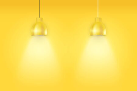 Interior of yellow wall with vintage pedant lamps. Duotone color fashion interior. Vector Illustration